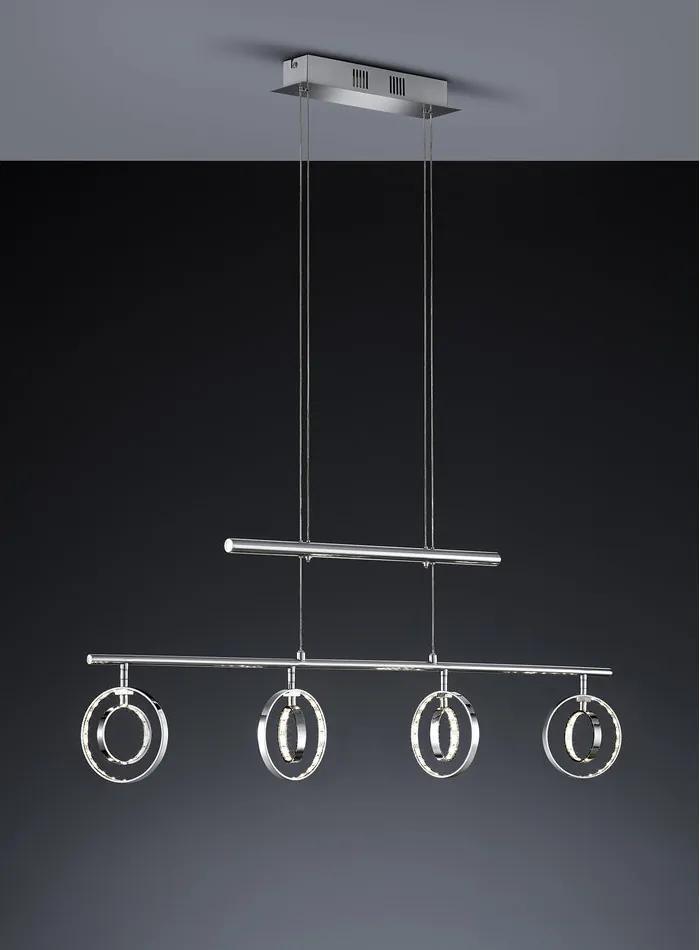 Trio R32604106 Pendule LED PRATER crom metal incl. 4 x SMD, 4,5W, 3000K, 400Lm 390lm 3000K IP20