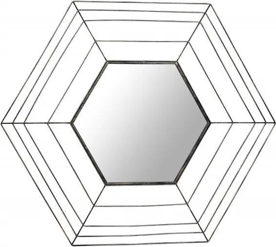 Oglinda hexagonala cu rama din metal aurie Romeo, 1.5cm (L / D) x 69cm (W) x 79.5cm (H)