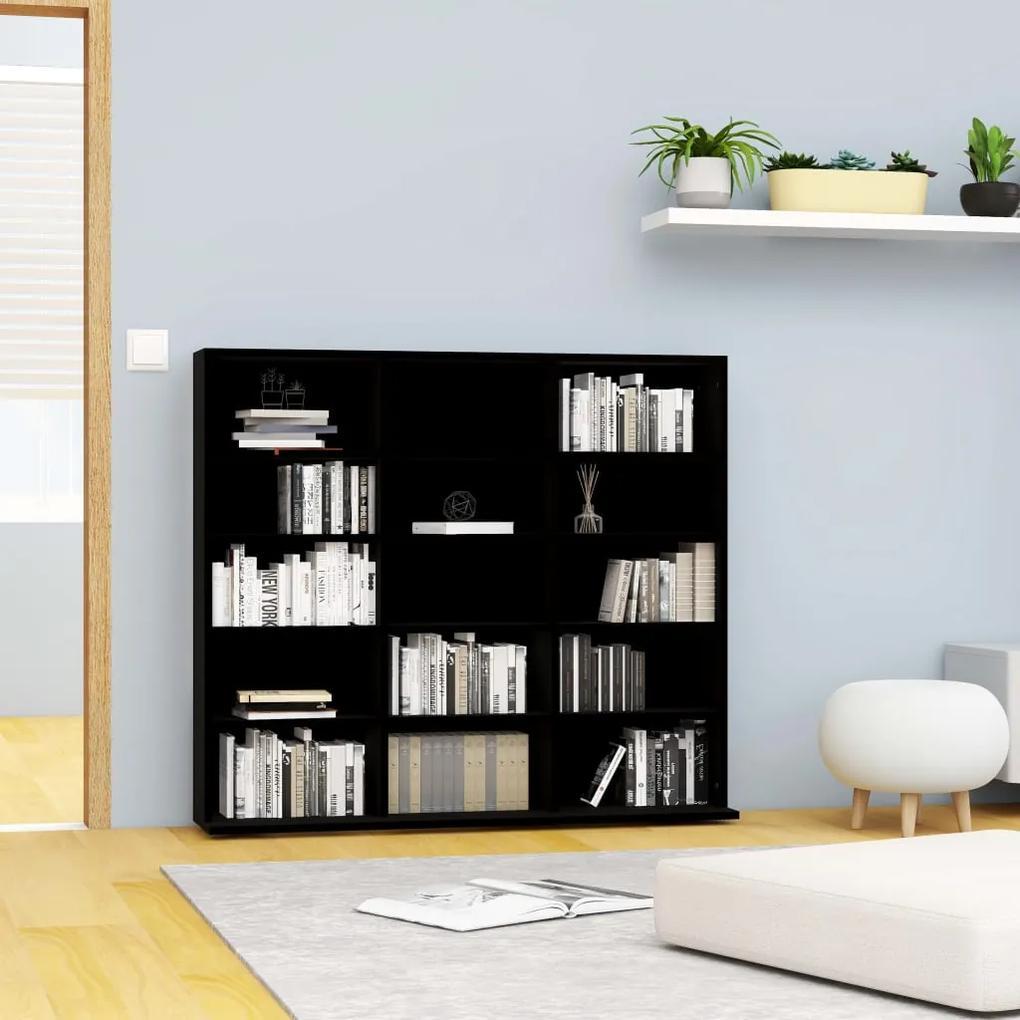 801788 vidaXL Dulap pentru CD-uri, negru, 102 x 23 x 89,5 cm, PAL