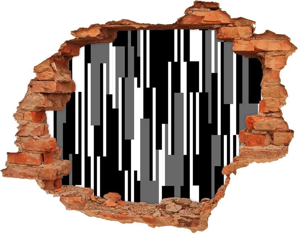 Autocolant un zid spart cu priveliște Linii negre și albe