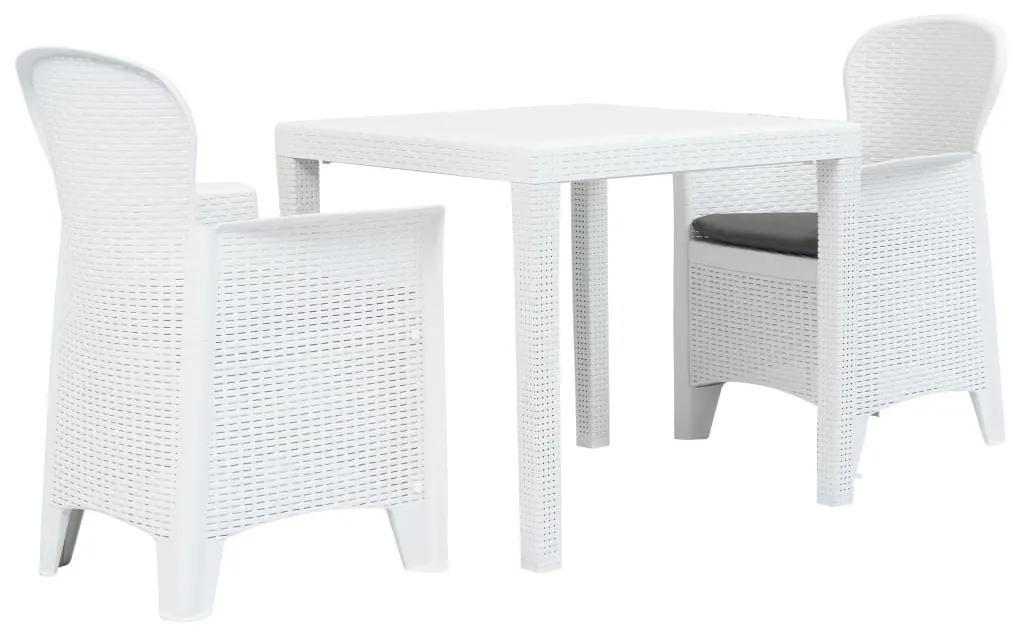 276107 vidaXL Set mobilier bistro, 3 piese, alb, plastic, aspect ratan