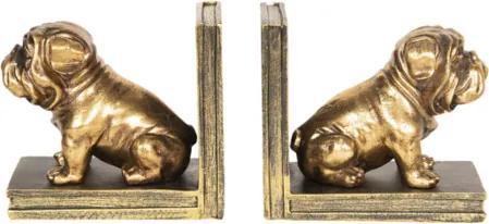 Set 2 suporturi carti polirasina auriu vintage Bulldog 31 cm x 9 cm x 14 cm