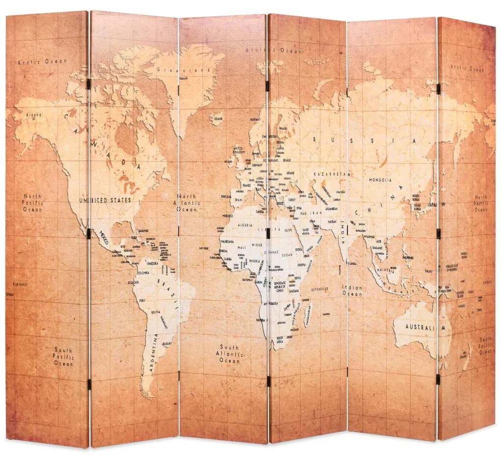 245880 vidaXL Paravan de cameră pliabil, galben, 228 x 170 cm, harta lumii