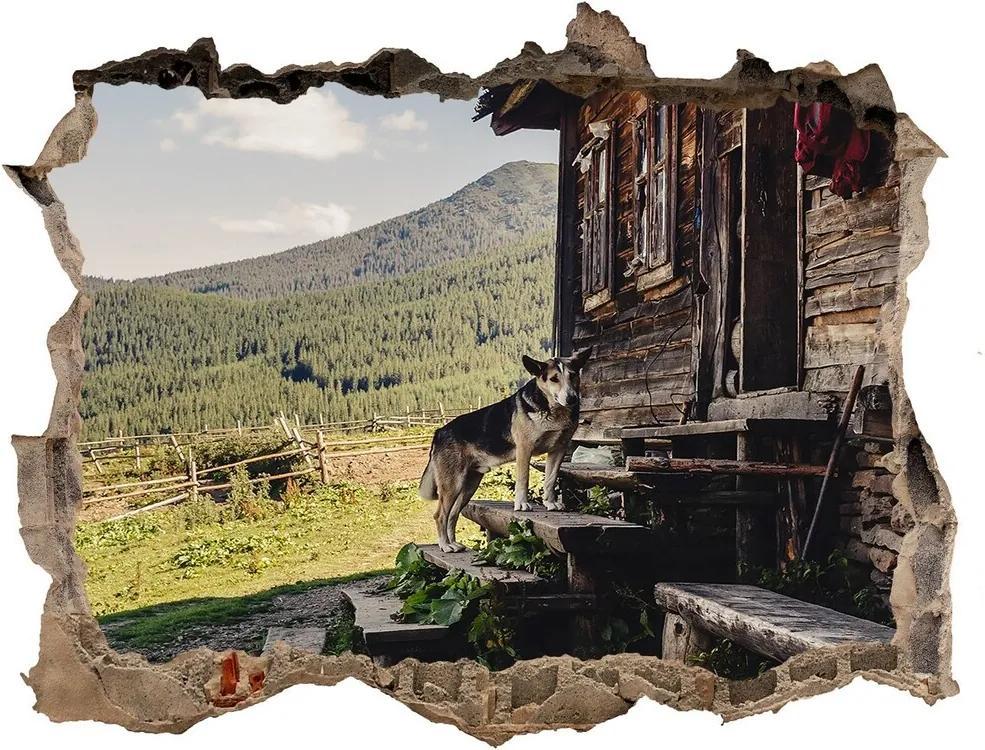Fototapet un zid spart cu priveliște Casa de lemn de munte