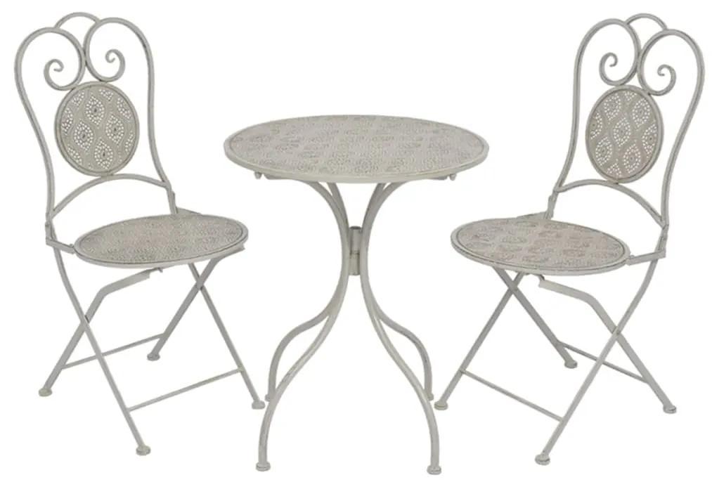 43154 vidaXL Set mobilier bistro, 3 piese, gri, oțel