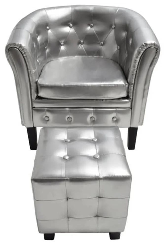 60709 vidaXL Fotoliu cu taburet, argintiu, piele ecologică