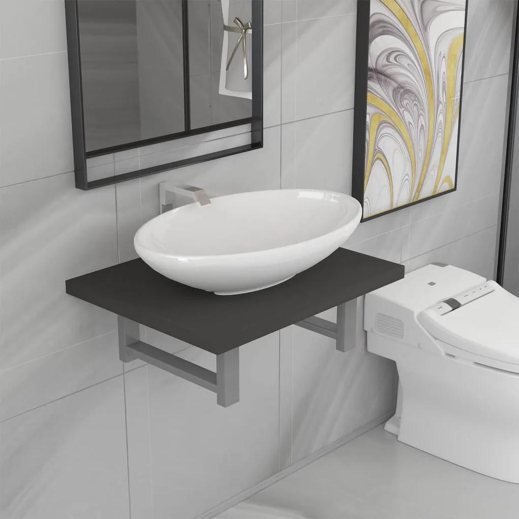 279315 vidaXL Set mobilier de baie, 2 piese, gri, ceramică