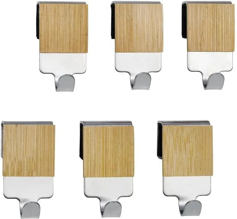 Set 6 cârlige de perete Wenko Bamboo Premium, bambus