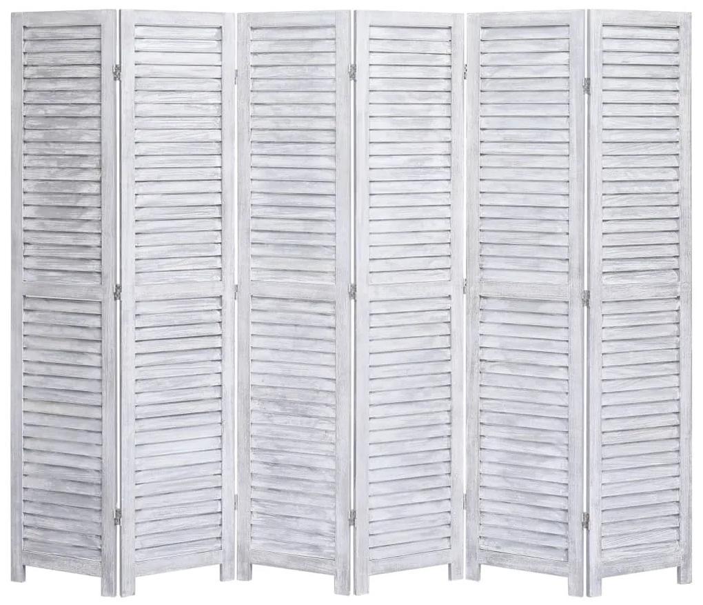 284206 vidaXL Paravan de cameră cu 6 panouri, gri, 210 x165 cm, lemn