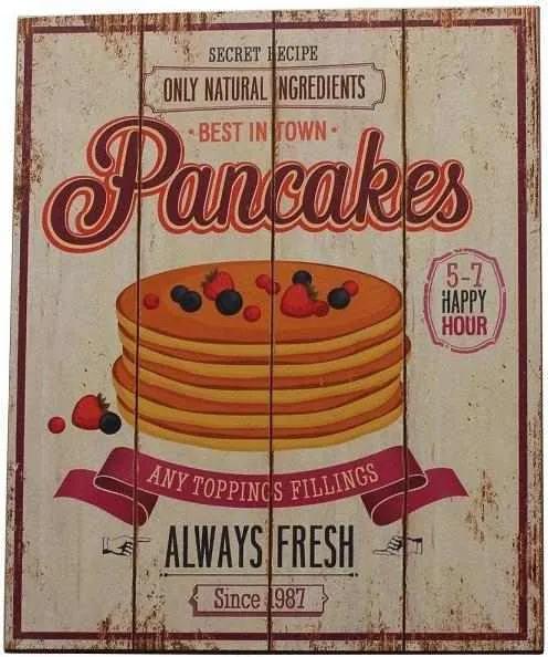 Decoratiune de perete Pancakes, Lemn, 40x30 cm