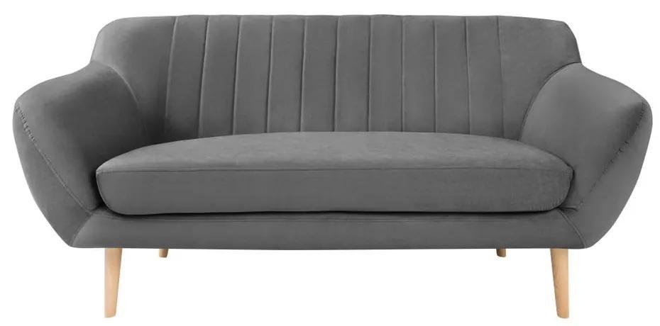 Canapea cu tapițerie din catifea Mazzini Sofas Sardaigne, 158 cm, gri