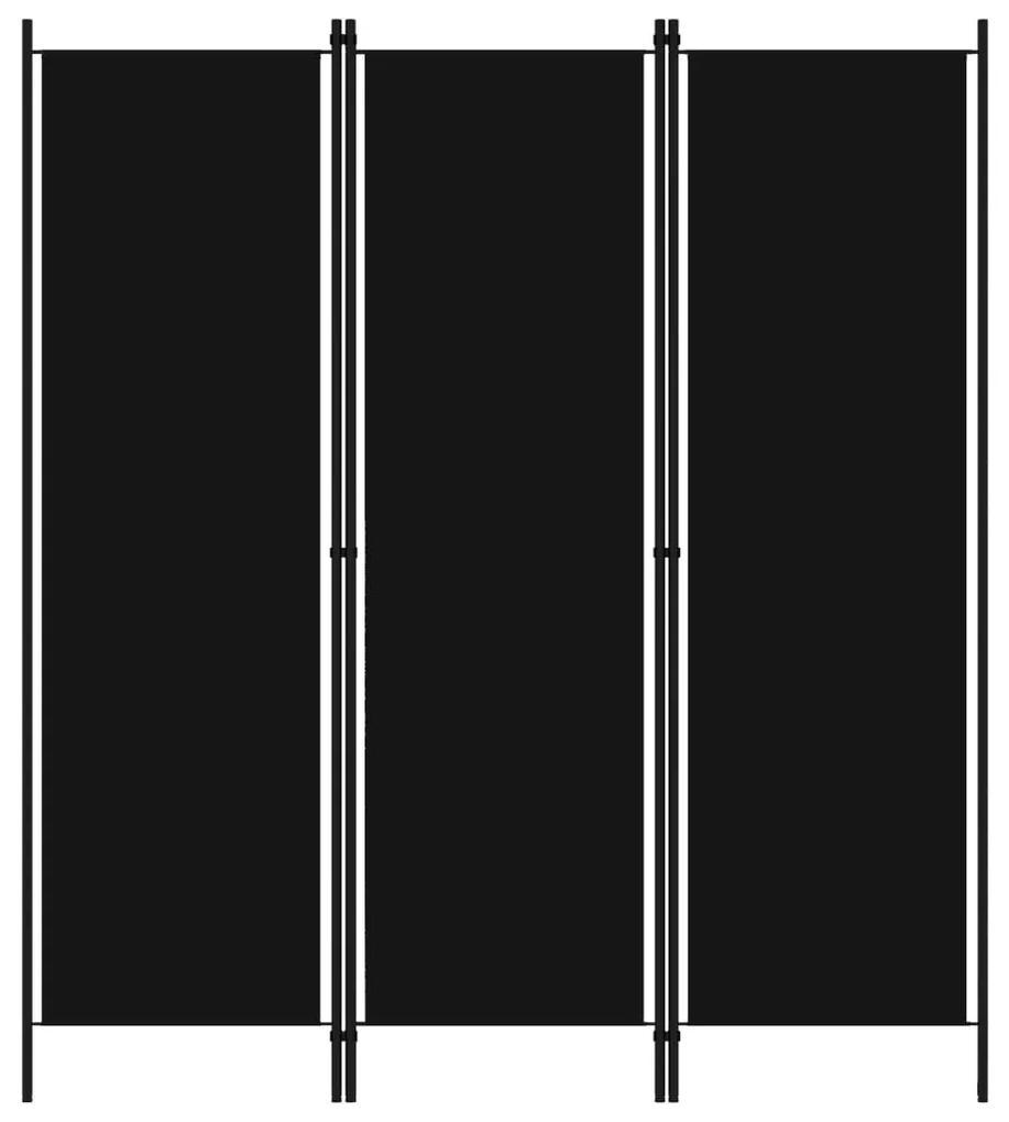 320718 vidaXL Paravan de cameră cu 3 panouri, negru, 150 x 180 cm