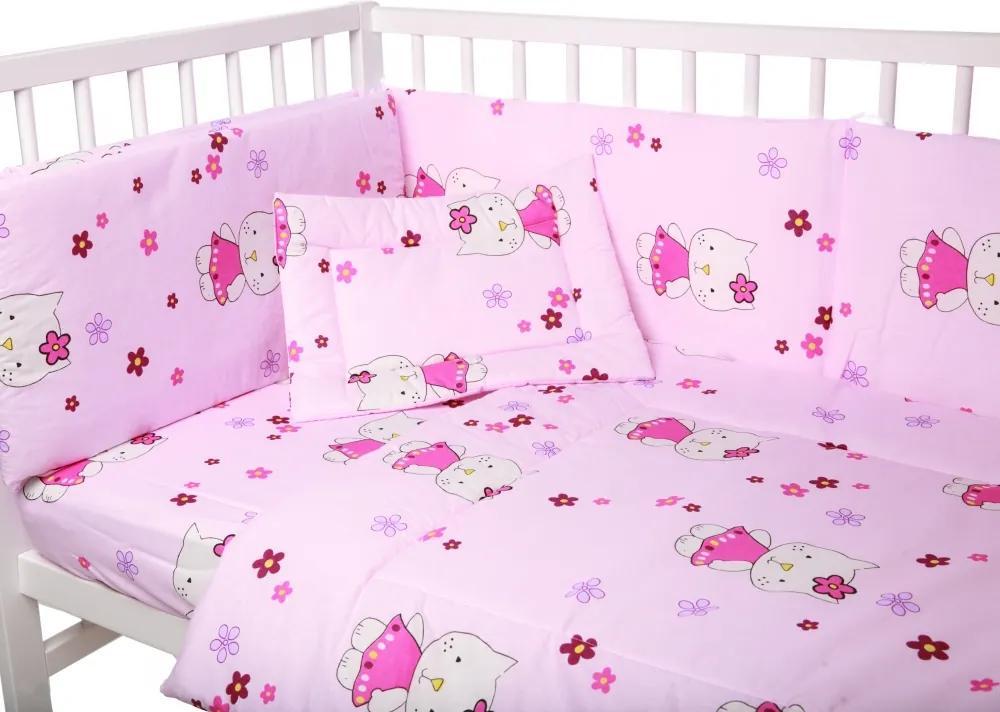 Lenjerie patut cu 4 piese Little Kitty Pink 039