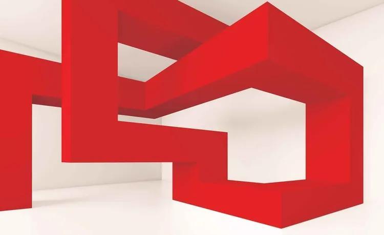 Modern Abstract Red White Fototapet, (104 x 70.5 cm)