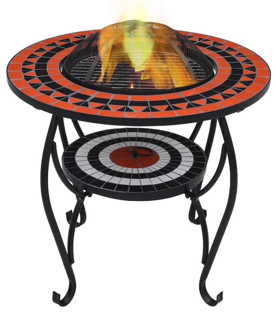 46726 vidaXL Masă cu vatră de foc, mozaic, cărămiziu și alb, 68 cm, ceramică