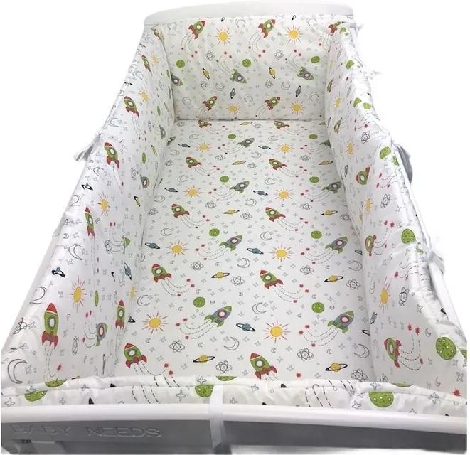 Deseda - Lenjerie de pat bebelusi cu aparatori laterale pufoase  Aventura ?®n spa?›iu pat 120x60 cm