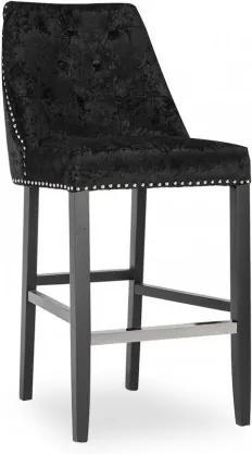 Scaun de bar tapitat cu stofa, cu picioare de lemn Lovell Black, l50xA62xH114 cm