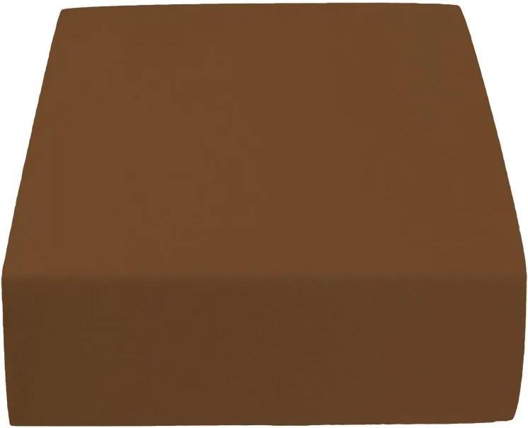 Cearșaf Jersey maro închis 200 x 220 cm