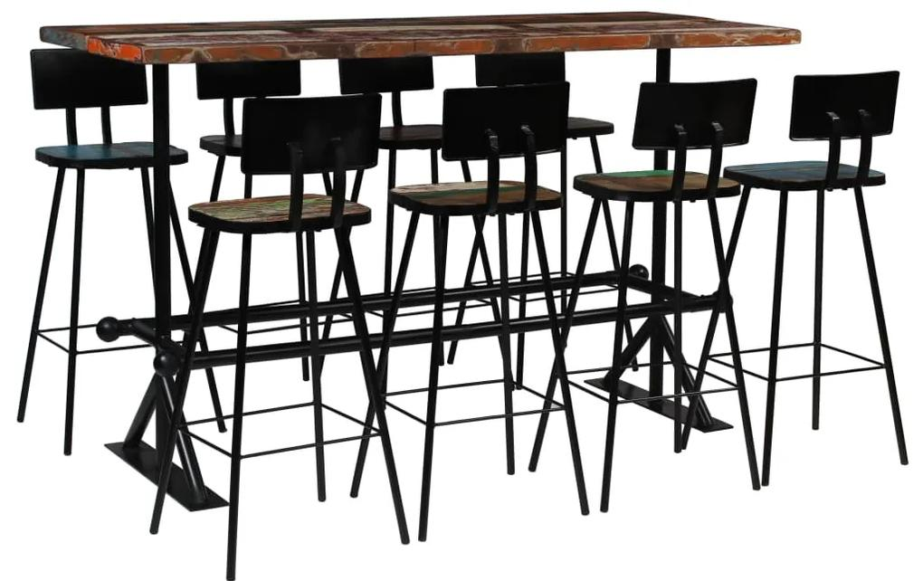 245401 vidaXL Set de bar, 9 piese, lemn masiv reciclat, multicolor