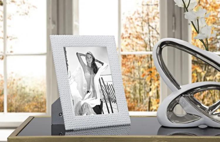Rama foto decorativa din rasina Cobble Alb, 21 x 26 cm