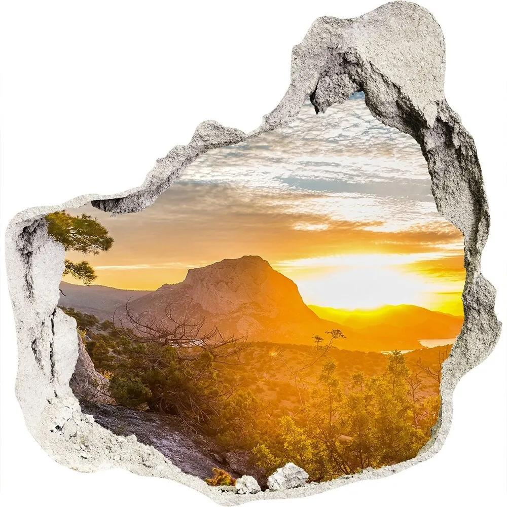 Autocolant un zid spart cu priveliște Apus de soare