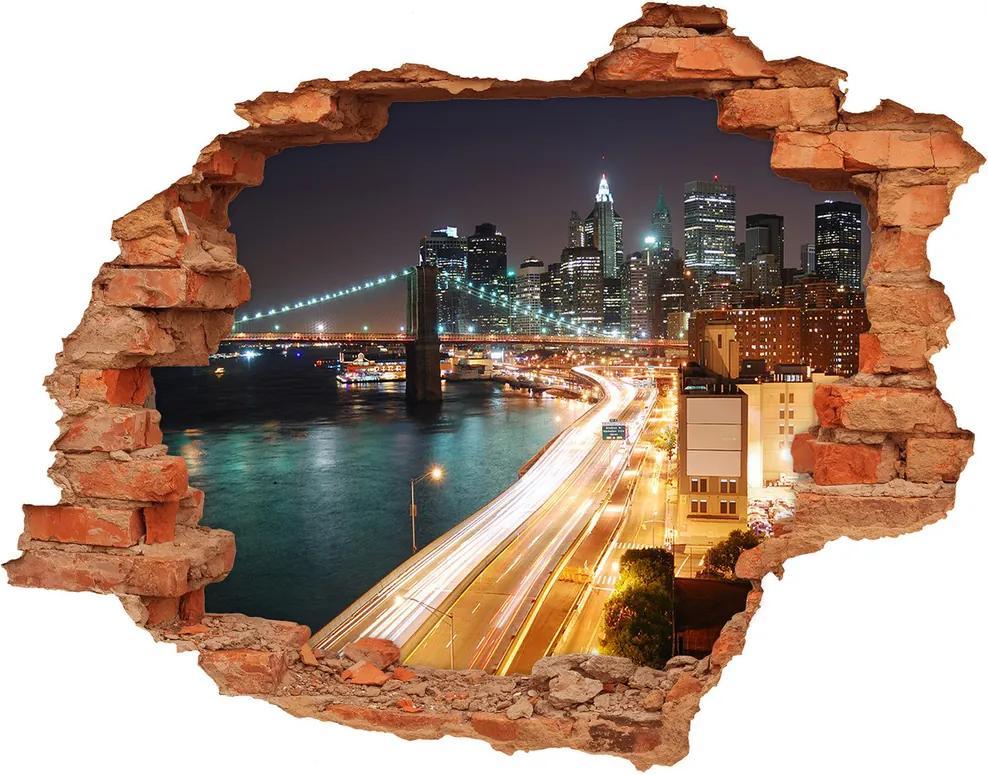 Fototapet 3D gaură în perete New York pe timp de noapte