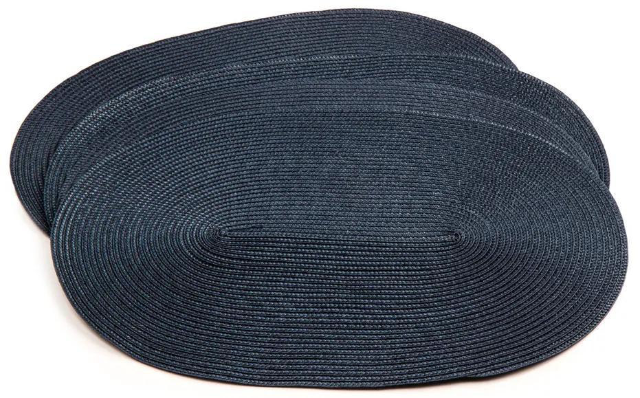 Suport farfurie Deco, oval, albastru închis,  30 x 45 cm, set 4 buc.