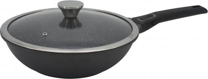 Tigaie wok din aluminiu cu invelis marmorat si maner detasabil, 28cm, Zephyr