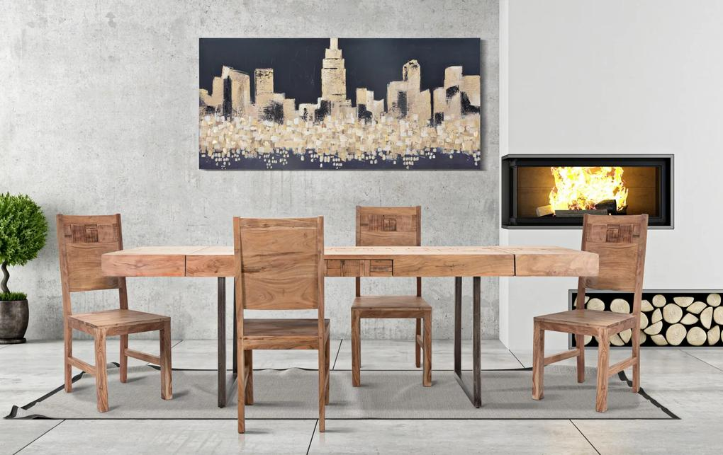 Masa extensibila Mumbai, lemn de acacia fier, negru maro, 160 240X80X77 cm