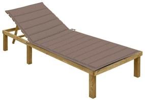 3065827 vidaXL Șezlong cu pernă gri taupe, lemn de pin tratat