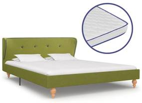 277329 vidaXL Pat cu saltea cu spumă memorie, verde, 140 x 200 cm, textil