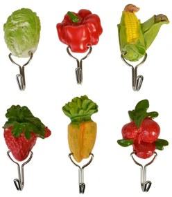 Set 6 agatatori cu autocolant pentru bucatarie, 3D Fruit