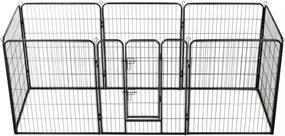 Țarc pentru câini, 8 panouri, oțel, 80 x 100 cm, negru