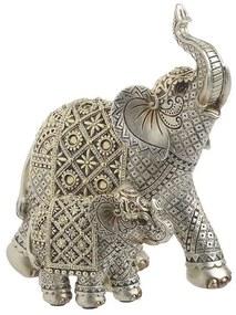Elefanti decor din rasina Silver Golden 16cm x 11cm x 19cm
