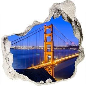 Fototapet un zid spart cu priveliște Podul din San Francisco