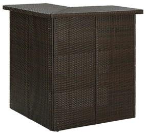 313480 vidaXL Masă de bar colțar, maro, 100 x 50 x 105 cm, poliratan