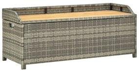 46481 vidaXL Bancă de depozitare pentru grădină, gri, 120 cm, poliratan