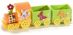 Trenulet decor Iepuras textil portocaliu verde cm 27 x 7 cm x 10 H