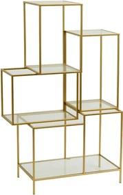 Biblioteca din metal auriu cu rafturi sticla Glass Nordal