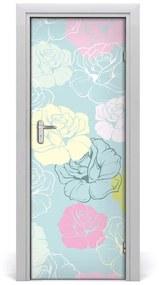 Autocolante pentru usi Furnir imagini de fundal adezive Roses usi