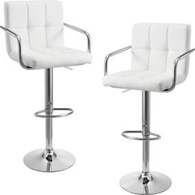 [en.casa]® 2 x scaune bar design capitonate - cu cotiere, rotative, inaltime reglabila, imitatie piele - alb
