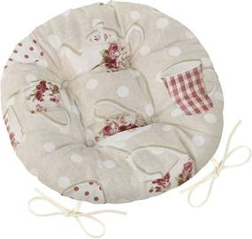 Pernă de scaun rotundă EMA Cană și ceainic, 40 x 40 cm