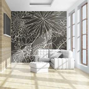 Fototapet Bimago - Black and white floral background + Adeziv gratuit 200x154 cm