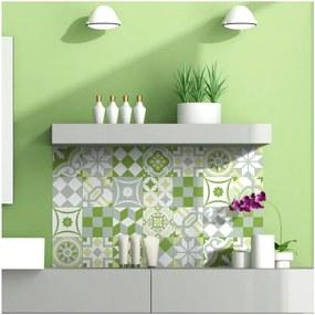Set 24 autocolante pentru perete Ambiance Green Patchwork Tiles, 10 x 10 cm
