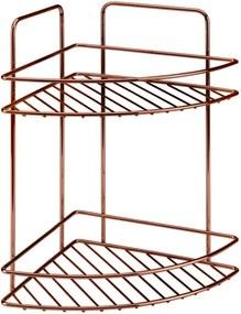 Etajeră pe colț cu 2 rafturi pentru baie Metaltex Copper