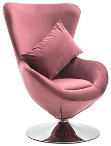 326214 vidaXL Scaun ou rotativ, cu pernă, roz, catifea