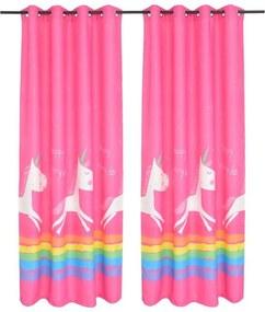 Draperii opace pentru camera copiilor, 2 buc, 140x240 cm, roz