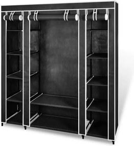 Dulap din material cu compartimente si bare 45 x 150 x176 cm negru