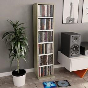 800356 vidaXL Dulap CD-uri, alb și stejar Sonoma, 21x20x88 cm, PAL