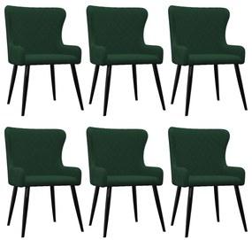 279164 vidaXL Scaune de sufragerie, 6 buc., verde, catifea